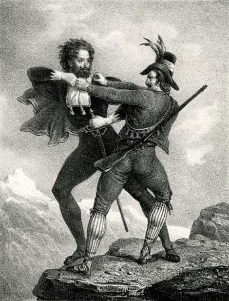 Illustrazione di William Lock III per il Manfred di George Byron, scena 2: lotta tra Manfred e il cacciatore di camosci, 1824-1832 circa, litografia, London, The British Museum