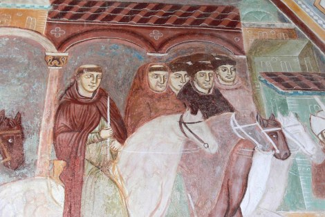 Fresco showing Ottone Visconti, archbishop of Milan, returning to Milan in 1277