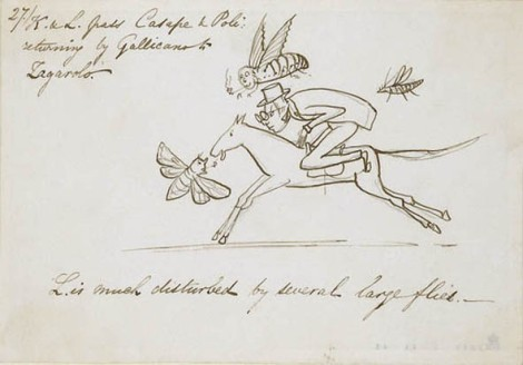 This jolly sketch, in the manner of his comic illustrations, records an incident on a journey through Italy with his servant Giorgio Kokoli ('K'). This is one of twenty-one from the series in the British Museum's collections; they picture the mundane frustrations of the traveller with whimsical humour. [I'm not so sure the journey was with Giorgio — Marco] Compass — thebritishmuseum.ac.uk
