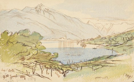 "LAGO D'ORTA. 1 June 1867. (209) Sepia ink, blue and green wash over graphite on cream paper. 15.5 x 24.8 cm.Inscribed, bottom left: ""Lago d'Orta/9.30.June 1.1867;"" bottom right: ""(209);"" bottom left (not in Lear's handwriting): ""#359."" Notes: ""green"" ""chesnut"" ""russet"" ""green slope"" ""green"" ""green"" ""dark green blu"" ""vines.""Provenance: FieldCall number/location: MS Typ 55.26 NI.R15Bibliographic references: ELOMS 359."