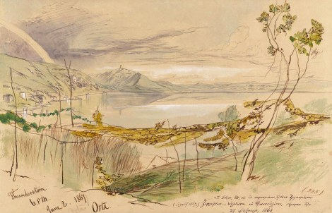 "ORTA. 2 June 1867. (225) Watercolor, sepia and blue ink and Chinese white over graphite on tan paper. 34.8 x 53.7 cm.Inscribed, bottom left: ""Thunderstorm/6.PM./June.2.1867./Orta;"" bottom right: ""(225);"" bottom right (in violet ink): [Greek, dated ""21 (February?) 1868""]. Notes: ""dark gray"" ""V I G 9 4 0 5"" ""vines & trees"" ""garden"" ""garden"" ""chestnuts"" ""walls"" ""all green"" ""green"" ""all wood/dark green"" ""pale/oker/rox"" ""green"" ""green"" ""green wood"" ""field"" ""pale blue"" ""copse"" ""the hay field"" ""wood"" ""field"" ""red"" ""copse"" ""fig"" ""olive"" ""vine"" ""grass"" ""vine"" ""Rye. ""Provenance: Field (Northbrook)Call number/location: MS Typ 55.26 NI.L12"