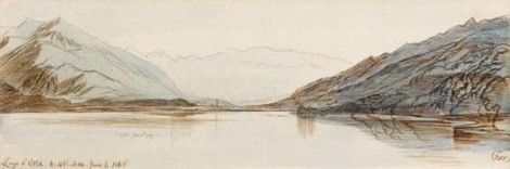 Lago d'Orta 6.45. AM 2 June 1867 Guy Pepiatt Fine Art London Archivio Iconografico del Verbano Cusio Ossola Edward Lear