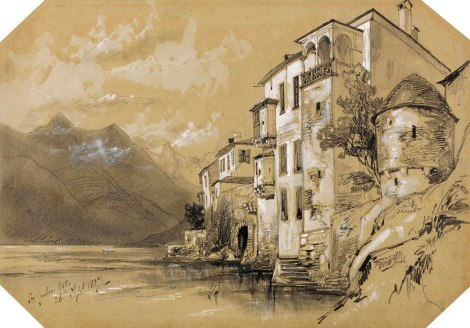 Edward Lear, 1812-1888, British, St. Giulio, Orta, 26 September 1837, 1837, Graphite with stumping and white gouache on moderately thick, moderately textured, gray-green wove paper, Yale Center for British Art, Gift of Donald C