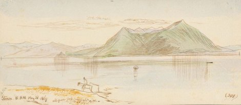"STRESA. 31 May 1867. (201) Watercolor and sepia ink over graphite on cream paper. 11 x 24.9 cm.Inscribed, bottom left: ""Stresa. 8.AM. May 31.1867;"" bottom right: ""(201);"" bottom left (not in Lear's handwriting): ""#356."" Notes: ""pale"" ""less pale"" ""faint"" ""pale blu & w"" ""all pure pale (very) ult & w.""Provenance: FieldCall number/location: MS Typ 55.26 NI.R15Bibliographic references: ELOMS 356."
