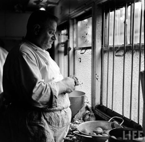 Simplon Sempione treno Orient Express 1950 LIFE Photo Jack Birns 1950 cuoco