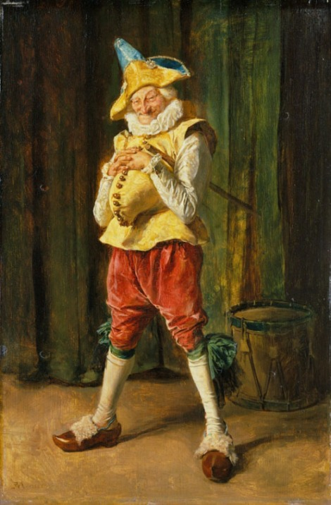 Sulla porta de budoir di One of several whole-length figures of Punch by Meissonier, this was painted on a door panel in the Paris apartment of Apollonie Sabatier (see Meissonier, 'The Recital', P326). The clogs (French: sabots) worn by the figure are doubtless a visual pun on Sabatier's name. The panel was cut from the door and retouched by the artist for the sale of Mme. Sabatier's collection in 1861. The louche character of Punch was a not inappropriate decoration for the apartment of a celebrated courtesan (who was said to have become a mistress of Richard Wallace in either the 1840s or the 1860s).