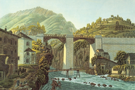 Il ponte di Crevola, da da G. Lory, F. Schoberl, Picturesque Tour from Geneva to Milan, London, 1820, R. Ackerman